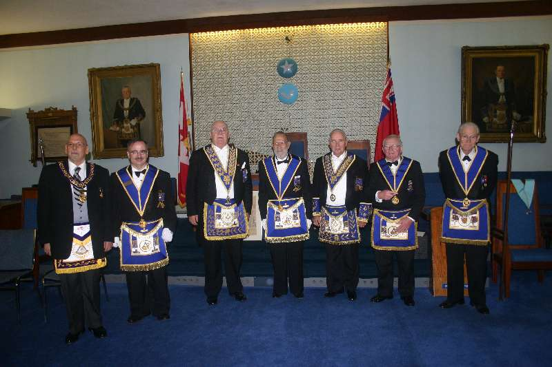 R.W.Bro. Nelson King, V.W.Bro. David Dainard and R.W.Bro. Tom Norris and Birch Cliff Brethren